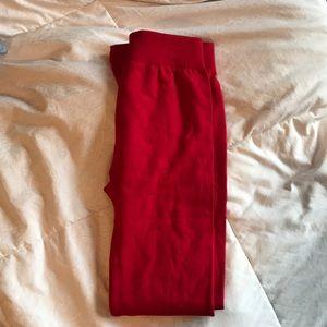 Pants - Red fleece leggings- vintage look